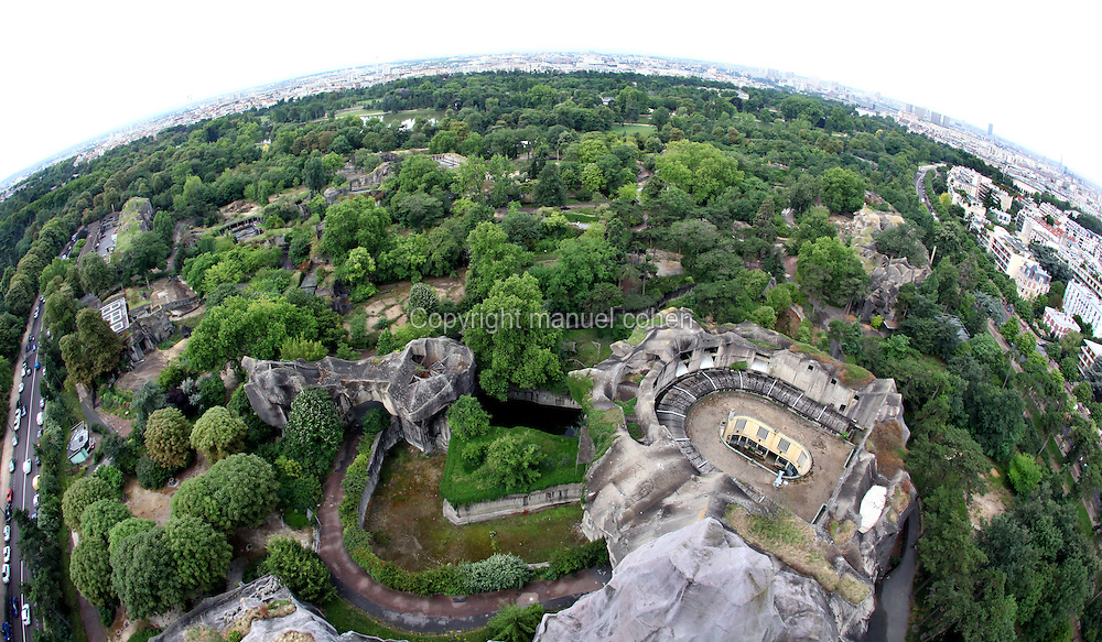 Aerial view of Parc Zoologique de Paris, or Zoo de Vincennes, (Zoological Gardens of Paris, also known as Vincennes Zoo), 1934, by Charles Letrosne, 12th arrondissement, Paris, France, pictured on June 28, 2011 in the morning. In November 2008 the 15 hectare Zoo, part of the Museum National d'Histoire Naturelle (National Museum of Natural History) closed its doors to the public and renovation works will start in September 2011. The Zoo is scheduled to re-open in April 2014. Picture by Manuel Cohen .