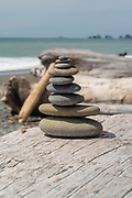 A small cairn (stack of rocks) at  Rialto Beach, Olympic National Park, Washington, USA.