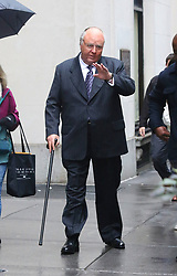 """Russell Crowe in full prosthetic fat suit, make-up and costume where he will play Roger Ailes for his upcoming TV series """"The Loudest Voice in the Room"""" filming in Midtown Manhattan. 06 Nov 2018 Pictured: Russell Crowe. Photo credit: LRNYC / MEGA TheMegaAgency.com +1 888 505 6342"""