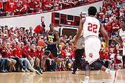 BLOOMINGTON, IN - FEBRUARY 2: Caris LeVert #23 of the Michigan Wolverines brings the ball up court against the Indiana Hoosiers during the game at Assembly Hall on February 2, 2014 in Bloomington, Indiana. Indiana defeated Michigan 63-52. (Photo by Joe Robbins)
