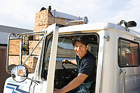 Mid-adult truck driver