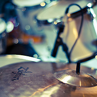 Close up of drum kit with cymbal and tom toms