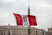 Peruvian Flag with the Holy Mother Mary and Jesus christ Icon