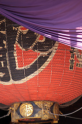 Detail of large red lantern in Senso Ji Shrine in Asakusa Tokyo Japan