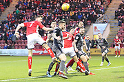 7 Chris Porter heads and scores for Crewe Alexander during the EFL Sky Bet League 2 match between Crewe Alexandra and Lincoln City at Alexandra Stadium, Crewe, England on 26 December 2018.