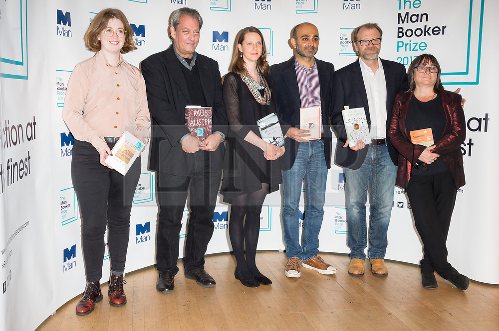 © Licensed to London News Pictures. 16/10/2017. London, UK. (L to R) Authors FIONA MOZLEY, PAUL AUSTER, EMILY FRIDLUND, MOHSIN HAMID, GEORGE SAUNDERS and ALI SMITH attends the Man Booker prize for fiction shortlisted event at the Royal festival Hall. The winning author will receive £50,000 prize money.Photo credit: Ray Tang/LNP