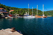 Sailboats in the harbor at Polace, Mljet Island National Park, Dalmatia, Croatia