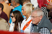 Anxious Blackpool fans during the EFL Sky Bet League 1 match between Accrington Stanley and Blackpool at the Fraser Eagle Stadium, Accrington, England on 21 September 2019.