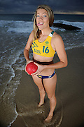Australian Beach Handballer Rosalie Boyd poses during a portrait session at Froggies Beach on Monday September 2, 2013 on the Gold Coast, Queensland, Australia. (Photo by Matt Roberts/mattrimages.com.au)