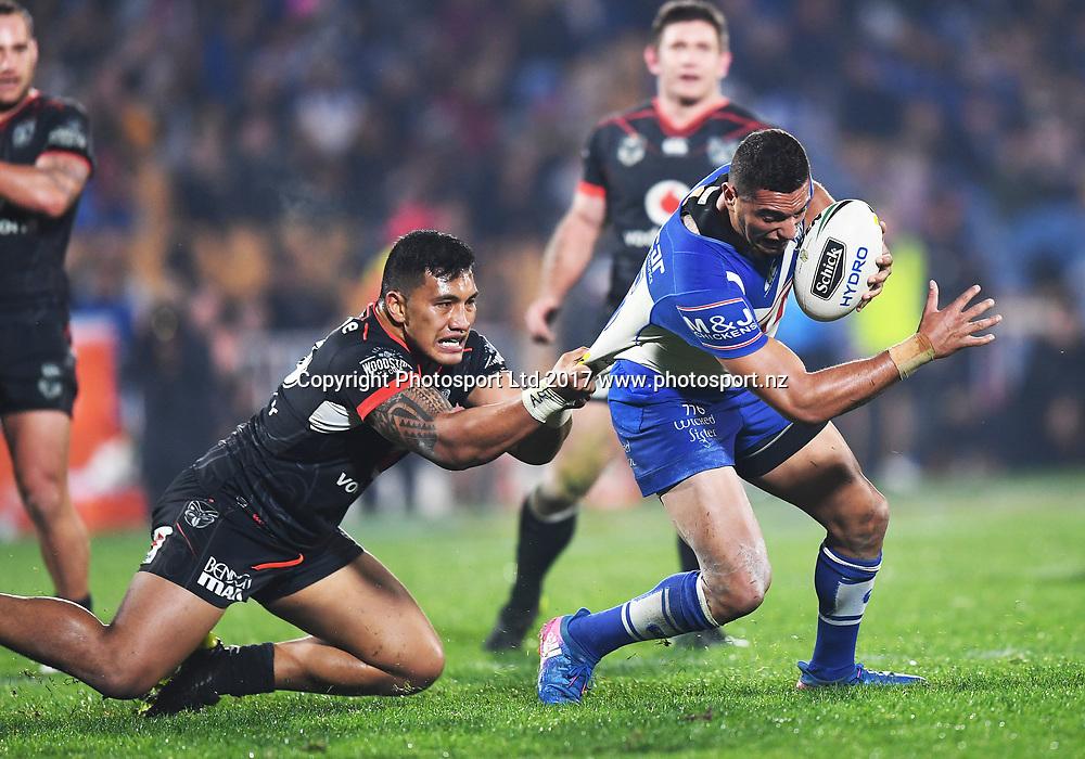 Albert Vete tackles Canterbury's Marcelo Montoya.<br /> Vodafone Warriors v  Canterbury Bulldogs. NRL Rugby League. Mt Smart Stadium, Auckland, New Zealand. Friday 23 June 2017 &copy; Copyright Photo: Andrew Cornaga / www.Photosport.nz