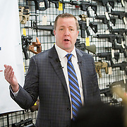 Corey Stewart, Chairman of the Board of Supervisors of Prince William County and Virginia Gubernatorial candidate, answers questions after giving away a Smith & Wesson M&P 15 Sport II, an AR-15 rifle, to a supporter as part of a promotional giveaway, on Wednesday, January 11, 2017.  The Stewart campaign used the AR-15 giveaway as an opportuntiy to tout Stewart's record on support for the second amendment.  John Boal Photography