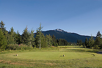 Spectacular scenery includes views of Whistler mountain and the Coast Garibaldi Range from the Nicklaus North Golf Course in Whistler, BC Canada.