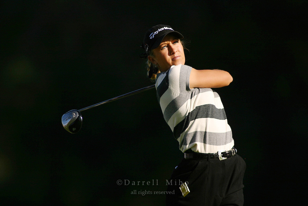 March 26, 2004; Rancho Mirage, CA, USA;  Natalie Gulbis tees off at the 2nd hole during the second round of the LPGA Kraft Nabisco golf tournament held at Mission Hills Country Club.  <br />Mandatory Credit: Photo by Darrell Miho <br />&copy; Copyright Darrell Miho