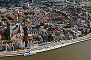 Nederland, Overijssel, Deventer, 30-06-2011; monumentale wand met kustwerken langs de IJsssel op het Wellepad (Deventer Op Stelten, DOS).View on the Old Town of (Hansa city) Deventer with the main church and the quay Welle. .luchtfoto (toeslag), aerial photo (additional fee required).copyright foto/photo Siebe Swart