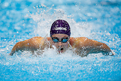 Rachael Kelly of Loughbrough University wins the Womens 100m Butterfly Final - Photo mandatory by-line: Rogan Thomson/JMP - 07966 386802 - 16/04/2015 - SPORT - SWIMMING - The London Aquatics Centre, England - Day 4 - British Swimming Championships 2015.