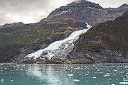 Cascade glacier melting into Barry Arm in Harriman Fjord, Prince William Sound near Whittier, Alaska.