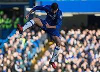 Football - 2016 / 2017 Premier League - Chelsea vs. West Bromwich Albion<br /> <br /> Diego Costa of Chelsea in the air in an attempt to block a clearance at Stamford Bridge.<br /> <br /> COLORSPORT/DANIEL BEARHAM