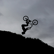 Josh Dereus in action during the 'Red Bull Roast It' BMX competition with riders from around the globe competing at the Gorge Road Jump Park, Queenstown, South Island, New Zealand. 18th February 2012. Photo Tim Clayton