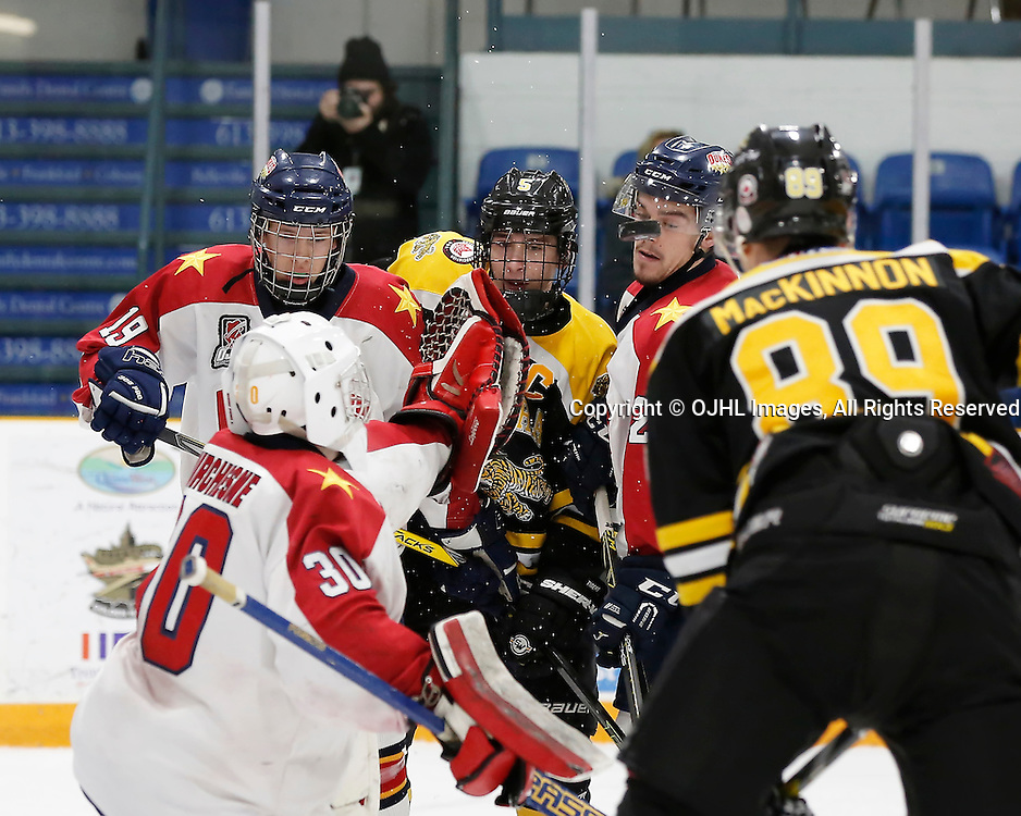 TRENTON, ON - JAN 24,  2017: Ontario Junior Hockey League action game between Aurora and Wellington at the 2017 Winter Showcase, Tyler Harrison #19 of the Wellington Dukes during the second period<br /> (Photo by Amy Deroche / OJHL Images)
