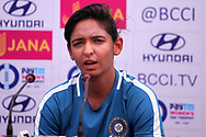 Harmanpreet Kaur of India speaks during the India team press conference held at the Reliance Cricket Stadium in Vadodara,  ahead of the first ODI match between India and Australia on the 11th March 2018<br /> <br /> <br /> Photo by Vipin Pawar / BCCI / SPORTZPICS
