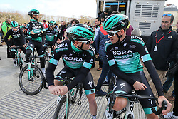 March 10, 2019 - Paris, Ile-de-France, France - Bora Hansgrohe cycling team waits for the team's presentation at the start of the 138,5km 1st stage of the 77th Paris-Nice cycling race between Saint-Germain-en-Laye and Saint-Germain-en-Laye in the west suburb of Paris, France, on March 10, 2019. Whether leaders of a team or merely a team-mate, the riders on the Paris-Nice try to excel, either individually or as a team. According to the stage profiles, changes in the general standings or some unexpected circumstance during the race, each rider adapts his objectives to the situation. (Credit Image: © Michel Stoupak/NurPhoto via ZUMA Press)