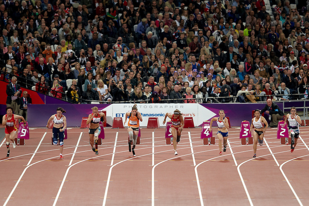 L - R  Juan Wang of China, Stef Reid of Great Britain, Katrin Green of Germany, Marlou av Rhijn of the Netherlands, April Holmes USA, Marie-Amelie le Fur of France, Saki Takakuwa od Japan and Sophie Kamlish of Great Britain in the Women's 100 meter T 44 Final at the Olympic Stadium on day 4 of the London 2012 Paralympic Games. 2nd September 2012