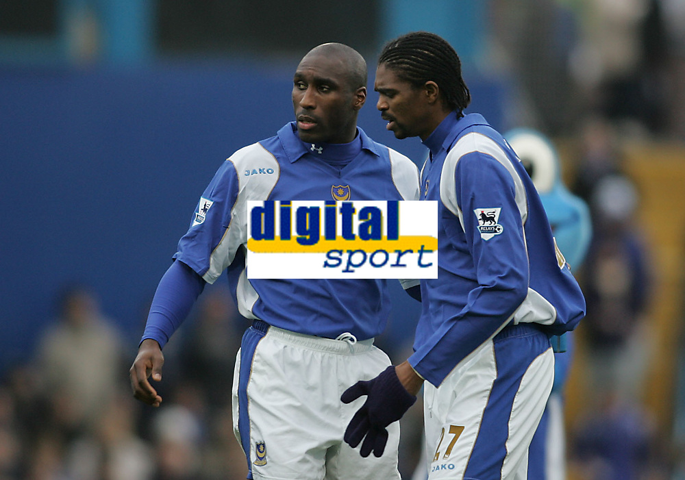 Photo: Lee Earle.<br /> Portsmouth v Tottenham Hotspur. The Barclays Premiership. 01/01/2007.Portsmouth duo Sol Campbell (L) and Kanu (R) are thought to be on their way out of Fratton Park.