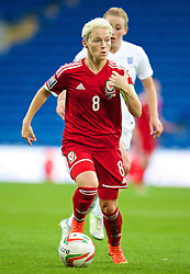 CARDIFF, WALES - Tuesday, August 21, 2014: Wales' captain Jessica Fishlock in action against England during the FIFA Women's World Cup Canada 2015 Qualifying Group 6 match at the Cardiff City Stadium. (Pic by David Rawcliffe/Propaganda)