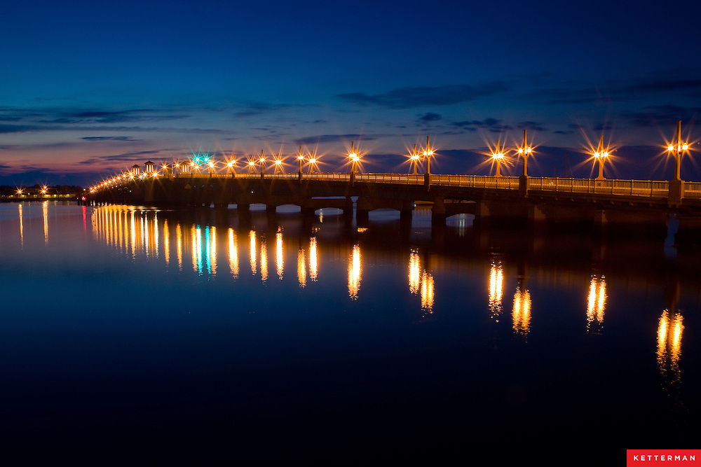 The Bridge of Lions seen at sunrise over the Matanzas River in downtown Saint Augustine, Florida.