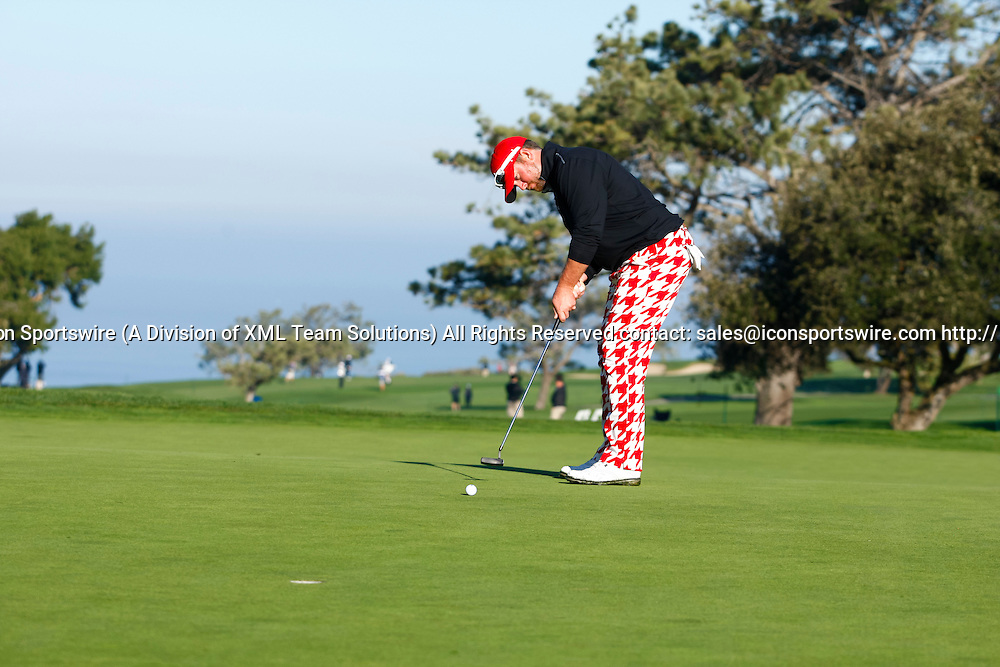 February 7, 2015:  Steve Wheatcroft putts on the 2nd green on the Torrey Pines Golf Course during the third round of the Farmers Insurance Open in San Diego, Ca.