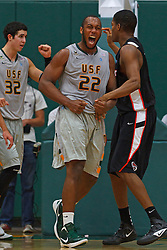 Dec 10, 2011; San Francisco CA, USA;  San Francisco Dons forward Perris Blackwell (22) celebrates after a play against the Pacific Tigers during the second half at War Memorial Gym.  San Francisco defeated Pacific 79-69. Mandatory Credit: Jason O. Watson-US PRESSWIRE