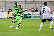 Forest Green Rovers Callum Evans(18) prepares to shoot during the Pre-Season Friendly match between Weston Super Mare and Forest Green Rovers at the Woodspring Stadium, Weston Super Mare, United Kingdom on 18 July 2017. Photo by Shane Healey.