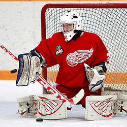 AURORA, ON - Jan 29 : Ontario Junior Hockey League Game Action between the Hamilton Red Wings and the Aurora Tigers, Mark Sinclair #31 of the Hamilton Red Wings Hockey Club during the pre-game warm-up.<br /> (Photo by Brian Watts / OJHL Images)