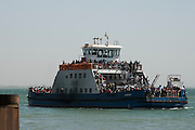BANJUL, GAMBIA - JAN 22: People return to Banjul by ferry after the departure of former president Jammeh, on 21 January 2017 in Banjul, Gambia.