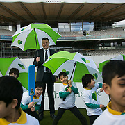 Derek Brewer, CEO MCC with school children in front of the new stand at Lord's which runs on renewable energy.  Schoolchildren from All Souls Primary School in London join MP James Heappey and Marylebone Cricket Club (MCC) Chief Executive Derek Brewer at Lord's to launch The Climate Coalition's #ShowtheLove campaign. The annual celebration of all that we love but could lose to climate change, from cricket pitches to woodlands, and the progress we are making towards a clean and secure future. The campaign encourages people to wear and share green hearts to demonstrate their support this Valentine's Day.