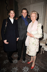 Left to right, The EARL & COUNTESS OF BURLINGTON he is the son and heir of the 12th Duke of Devonshire the DOWAGER DUCHESS OF DEVONSHIRE at a party to celebrate Penguin's reissue of Nancy Mitford's 'Wigs on The Green' hosted by Tatler at Claridge's, Brook Street, London on 10th March 2010.