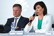 """Warsaw, Poland - 2017 April 19: (R) Agnieszka Wilczynska BGZ BNP Paribas speaks while press conference during official visit of International Tennis Federation (ITF) at """"Orzel"""" Tennis Club  on April 19, 2017 in Warsaw, Poland.<br /> <br /> Mandatory credit:<br /> Photo by © Adam Nurkiewicz / Mediasport<br /> <br /> Adam Nurkiewicz declares that he has no rights to the image of people at the photographs of his authorship.<br /> <br /> Picture also available in RAW (NEF) or TIFF format on special request.<br /> <br /> Any editorial, commercial or promotional use requires written permission from the author of image."""