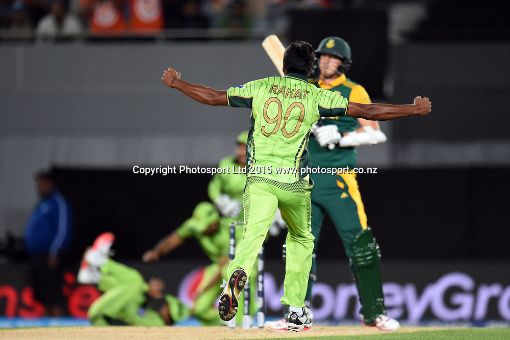 Pakistan bowler Rahat Ali celebrate the wicket of Dale Steyn during the ICC Cricket World Cup match between Pakistan and South Africa at Eden Park in Auckland, New Zealand. Saturday 07 March 2015. Copyright Photo: Raghavan Venugopal / www.photosport.co.nz