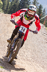 02.09.2012, Bikepark, Leogang, AUT, UCI, Mountainbike und Trial Weltmeisterschaften, MEN Elite, Downhill, im Bild Boris Tetzlaff (AUT) // during UCI Mountainbike and Trial World Championships, MEN Elite, Downhill at the Bikepark, Leogang, Austria on 2012/09/02. EXPA Pictures © 2012, PhotoCredit: EXPA/ Juergen Feichter