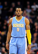 Nov. 12, 2012; Phoenix, AZ, USA; Denver Nuggets guard Andre Iguoldala (9) stands on the court in the game against the Phoenix Suns at US Airways Center. The Suns defeated the Nuggets 110-100. Mandatory Credit: Jennifer Stewart-USA TODAY Sports.