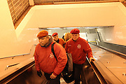 Bronx, N.Y. November 15, 2013. The Guardian Angels ride the escalator at Yankee Stadium subway stop. 11/15/2013. Photo by Paul McCaffrey/NYCity Photo Wire