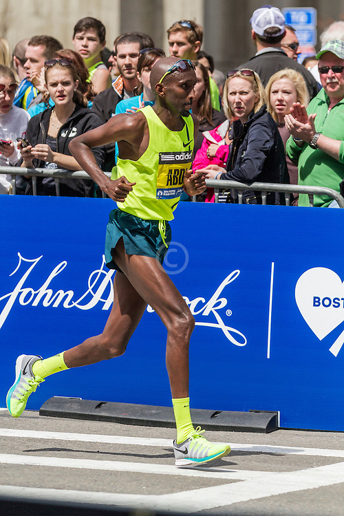 2014 Boston Marathon: turn onto Boylston Street with quarter mile to go, Abdi Abdirahmin