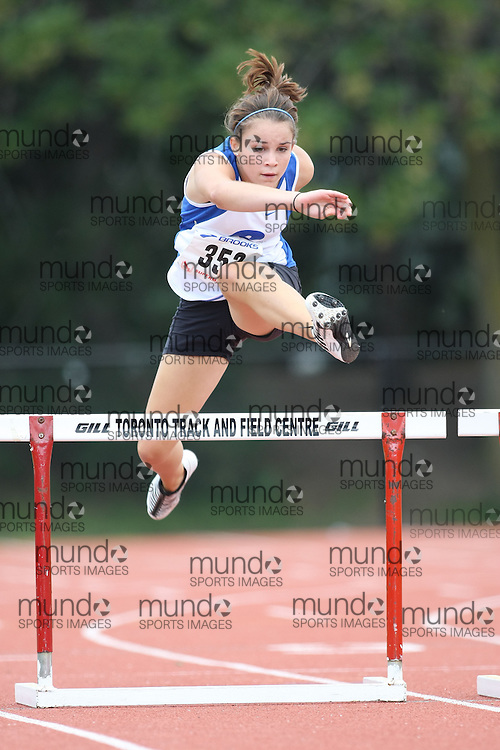 (Toronto, Ontario---2 August 2008)  Meghan Reddy competing in the juvenile girls 300m hurdles at the 2008 OTFA Supermeet II, the Bantam, Midget, Youth Track and Field Championships. This image is copyright Sean W. Burges, and the photographer can be contacted at www.msievents.com.