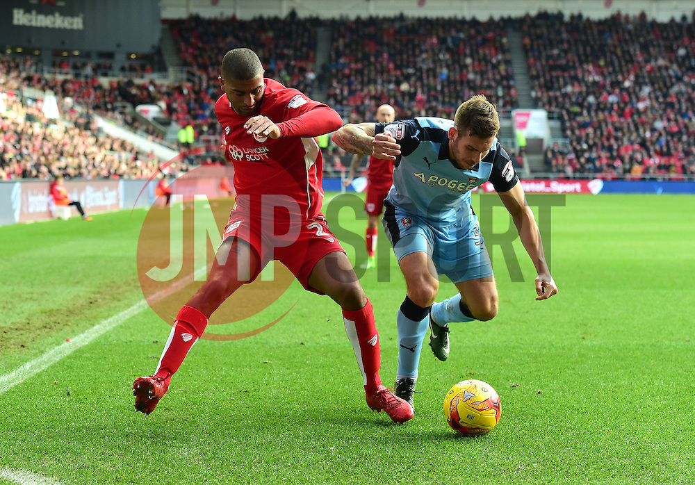 Mark Little of Bristol City battles for the ball with Joe Mattock of Rotherham United  - Mandatory by-line: Joe Meredith/JMP - 04/02/2017 - FOOTBALL - Ashton Gate - Bristol, England - Bristol City v Rotherham United - Sky Bet Championship