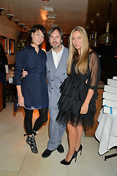 Left to right, CHARLOTTE STOCKDALE, MARC NEWSON and COLLETTE DINNIGAN at a dinner to celebrate the publication of Obsessive Creative by Collette Dinnigan hosted by Charlotte Stockdale and Marc Newson held at Mr Chow, Knightsbridge, London on 9th February 2015.