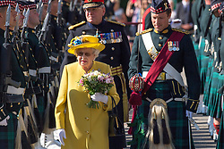 Queen Elizabeth ll walks past the Guard of Honour as attends the Ceremony of the Keys at  Holyroodhouse on July 2, 2018, where she is symbolically offered the keys to the city of Edinburgh by the Lord Provost .
