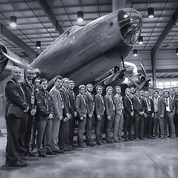TRENTON, ON  - MAY 1,  2017: Canadian Junior Hockey League, Central Canadian Jr. &quot;A&quot; Championship. The Dudley Hewitt Cup. The Dudley Hewitt Cup. Team Reception Banquet at the National Air Force Museum of Canada. Powassan Voodoos Team Photo   <br /> (Photo by Amy Deroche / OJHL Images)