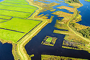 Nederland, Friesland, Alde Feanen, 10-10-2014; It Eilân, ten zuiden van Sytebuorren. Voormalig landbouwgebied (melkveehouderij), nu weidevogelgebied en retentiepolder. <br /> The old peatlands, Frisian peatland and bog, nature reserve.<br /> luchtfoto (toeslag op standard tarieven);<br /> aerial photo (additional fee required);<br /> copyright foto/photo Siebe Swart