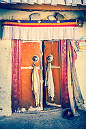 Kye Tibetan Buddhist Monastery Ancient Temple Doorway, Spiti Valley, India