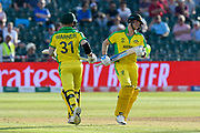 David Warner of Australia and Steve Smith of Australia batting together during the ICC Cricket World Cup 2019 match between Afghanistan and Australia at the Bristol County Ground, Bristol, United Kingdom on 1 June 2019.